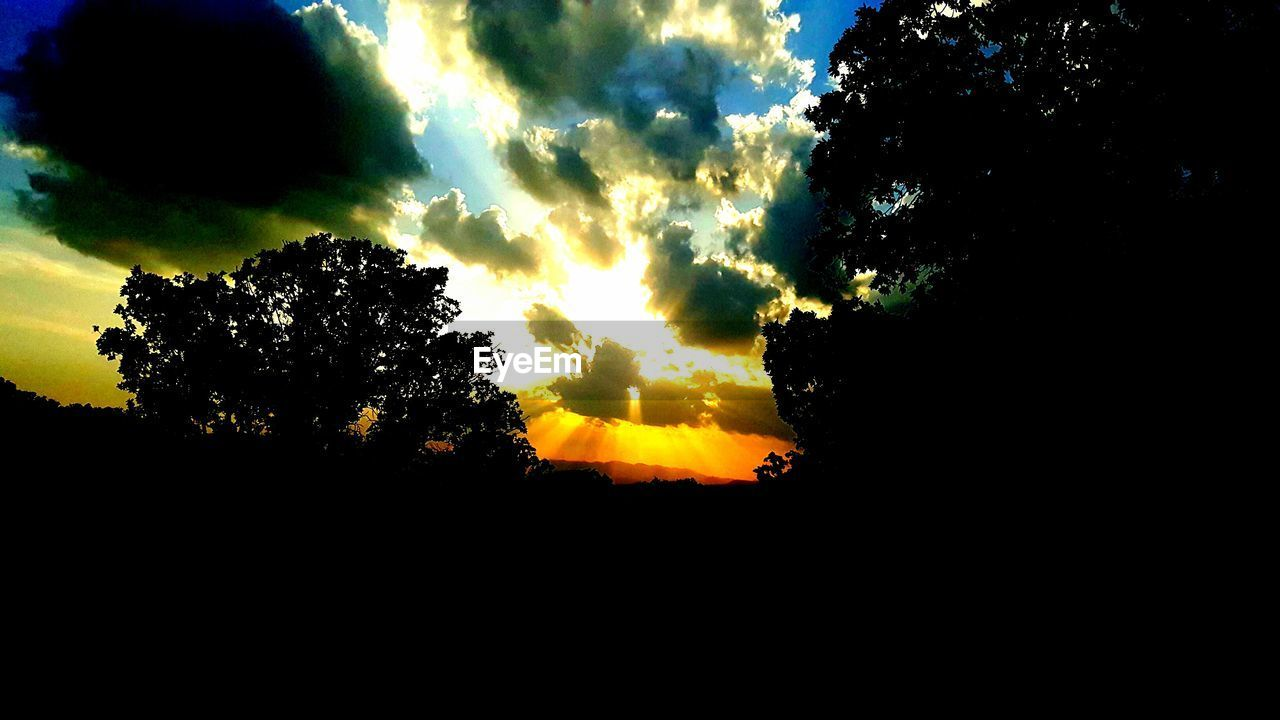 silhouette, sunset, sky, beauty in nature, nature, tranquility, scenics, tree, tranquil scene, dark, no people, cloud - sky, outdoors, day