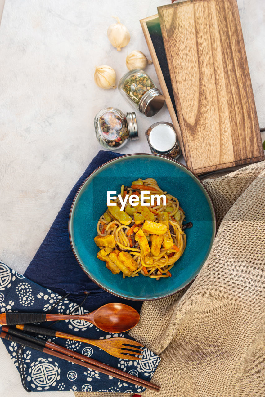 High angle view of food served in bowl on table