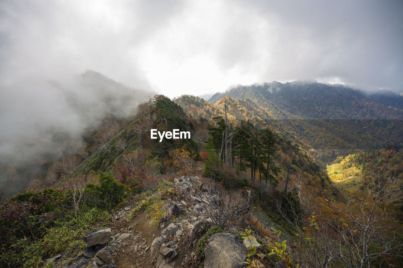 mountain, beauty in nature, scenics - nature, cloud - sky, tranquil scene, environment, landscape, tranquility, non-urban scene, sky, nature, plant, day, no people, mountain range, land, tree, rock, fog, outdoors, pollution