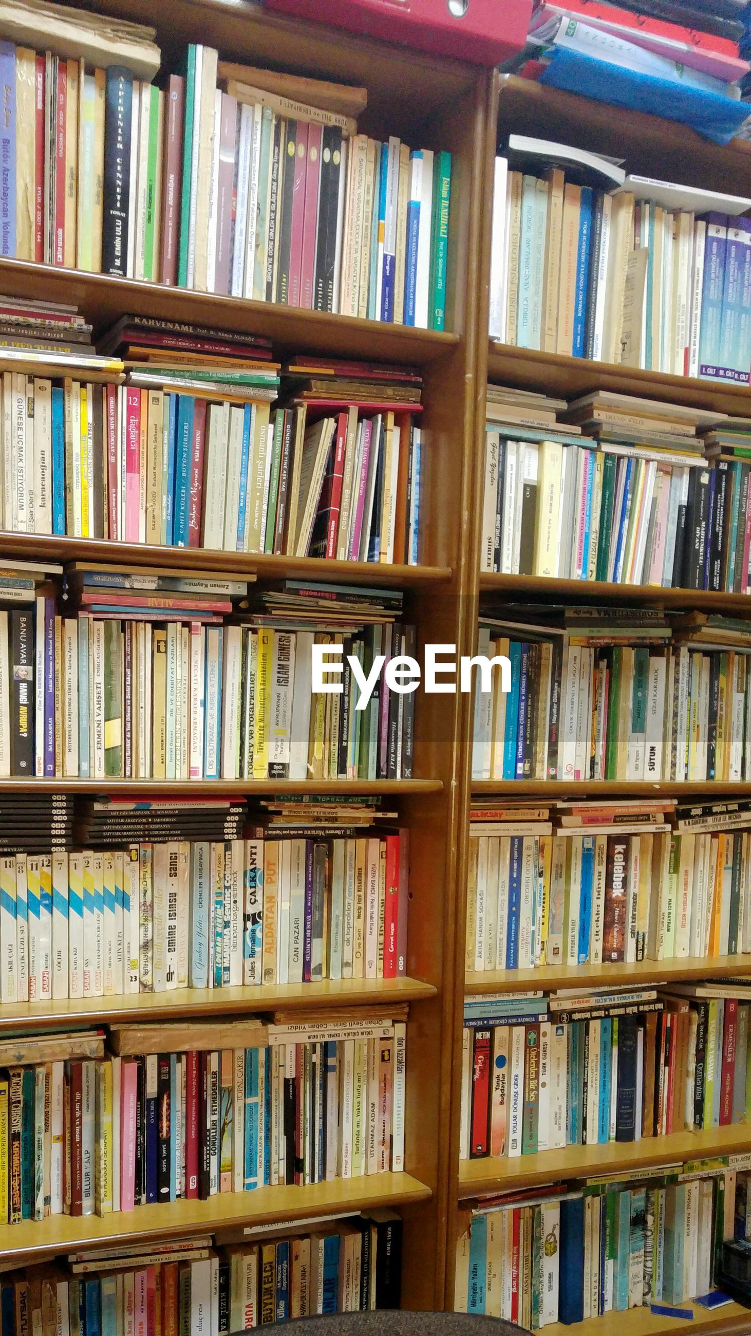 bookshelf, shelf, large group of objects, in a row, no people, indoors, variation, multi colored, library, day