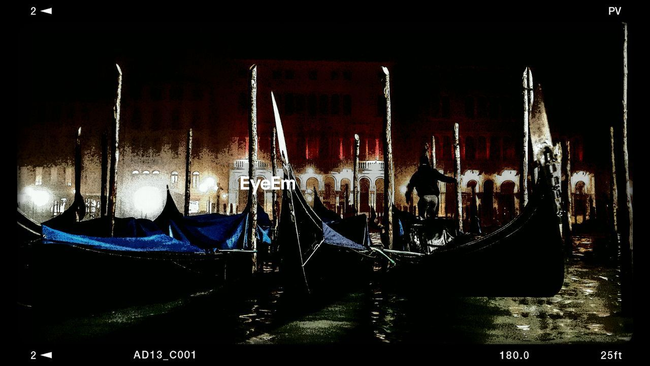 gondola - traditional boat, transportation, nautical vessel, gondola, night, canal, moored, travel destinations, water, mode of transport, outdoors, no people, travel, illuminated, wooden post, nature