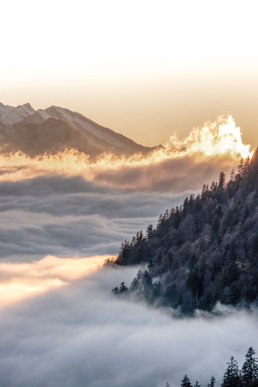 SCENIC VIEW OF MAJESTIC MOUNTAINS AGAINST SKY DURING SUNSET