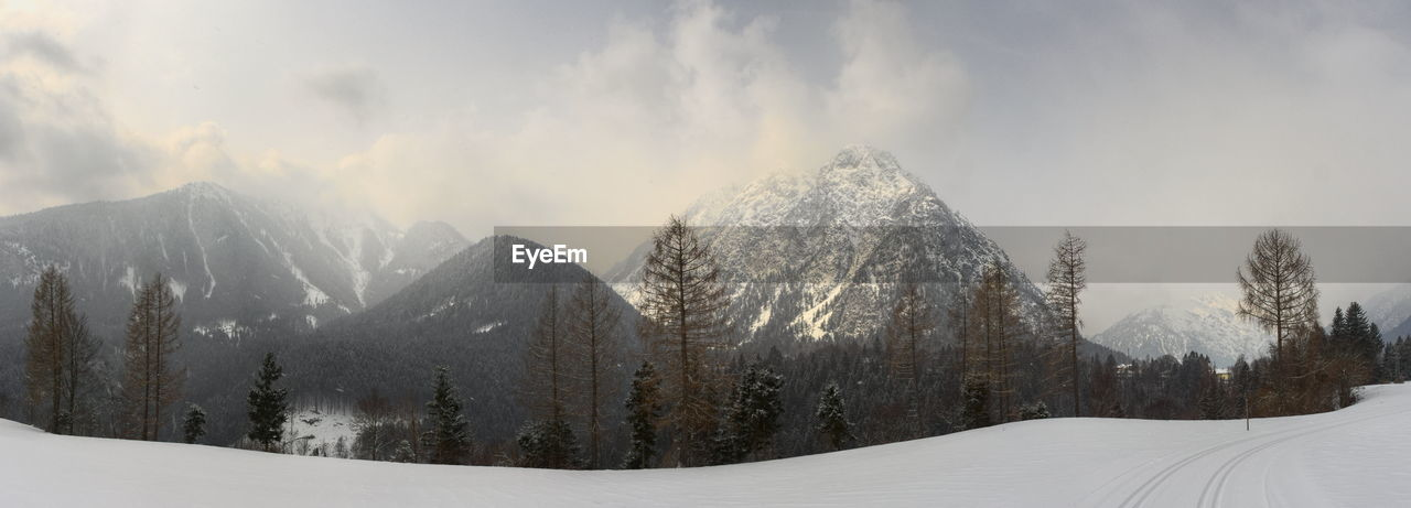 snow, cold temperature, winter, nature, beauty in nature, tranquility, weather, tree, tranquil scene, mountain, scenics, panoramic, outdoors, landscape, no people, day, sky