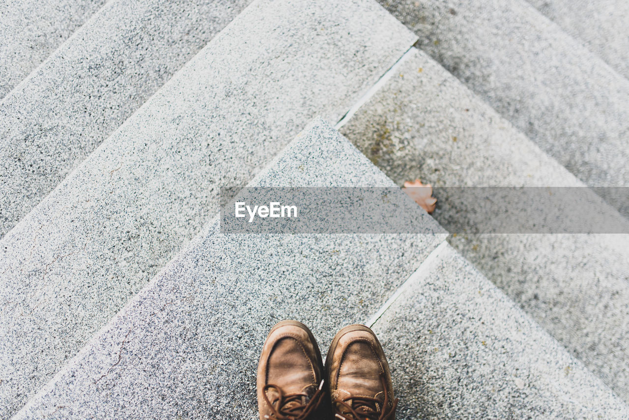 Directly above shot of shoes on steps