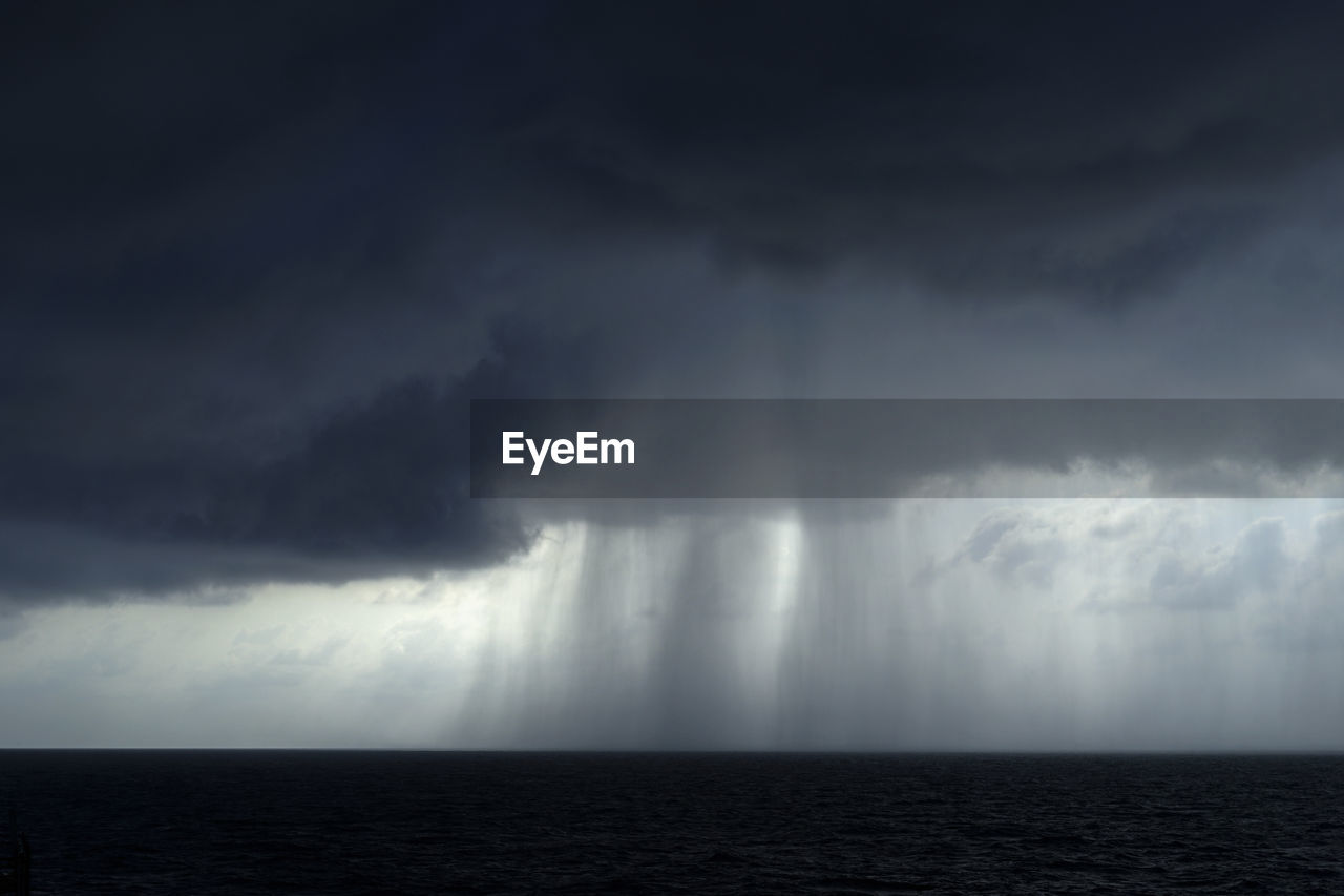 SCENIC VIEW OF SEA AGAINST STORM CLOUDS IN SKY