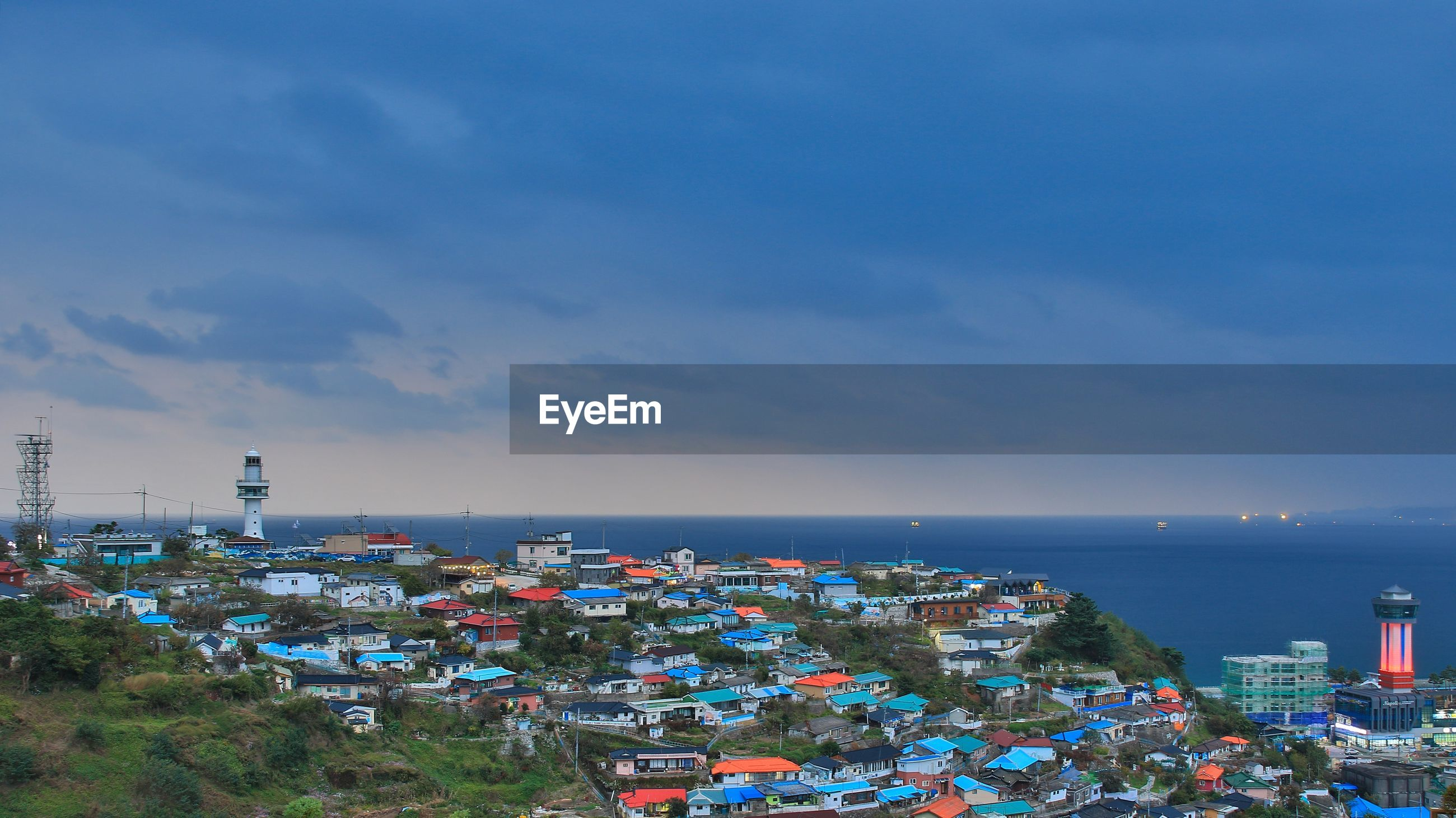 This is the evening view of the hill village where you can see the open great sea.