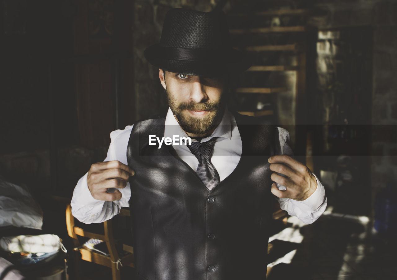 Close-up portrait of elegant man