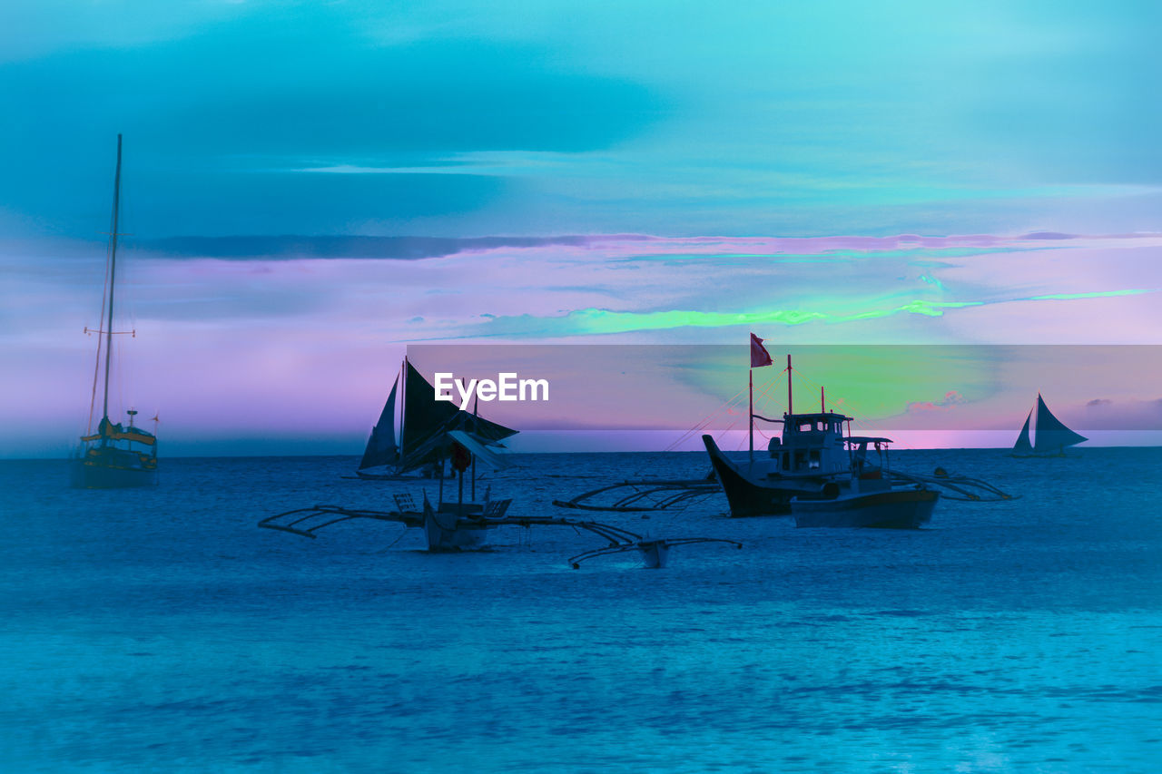 nautical vessel, sea, water, transportation, sky, mode of transportation, sunset, scenics - nature, cloud - sky, beauty in nature, tranquil scene, tranquility, moored, nature, waterfront, dusk, sailboat, horizon over water, no people, outdoors, fishing boat