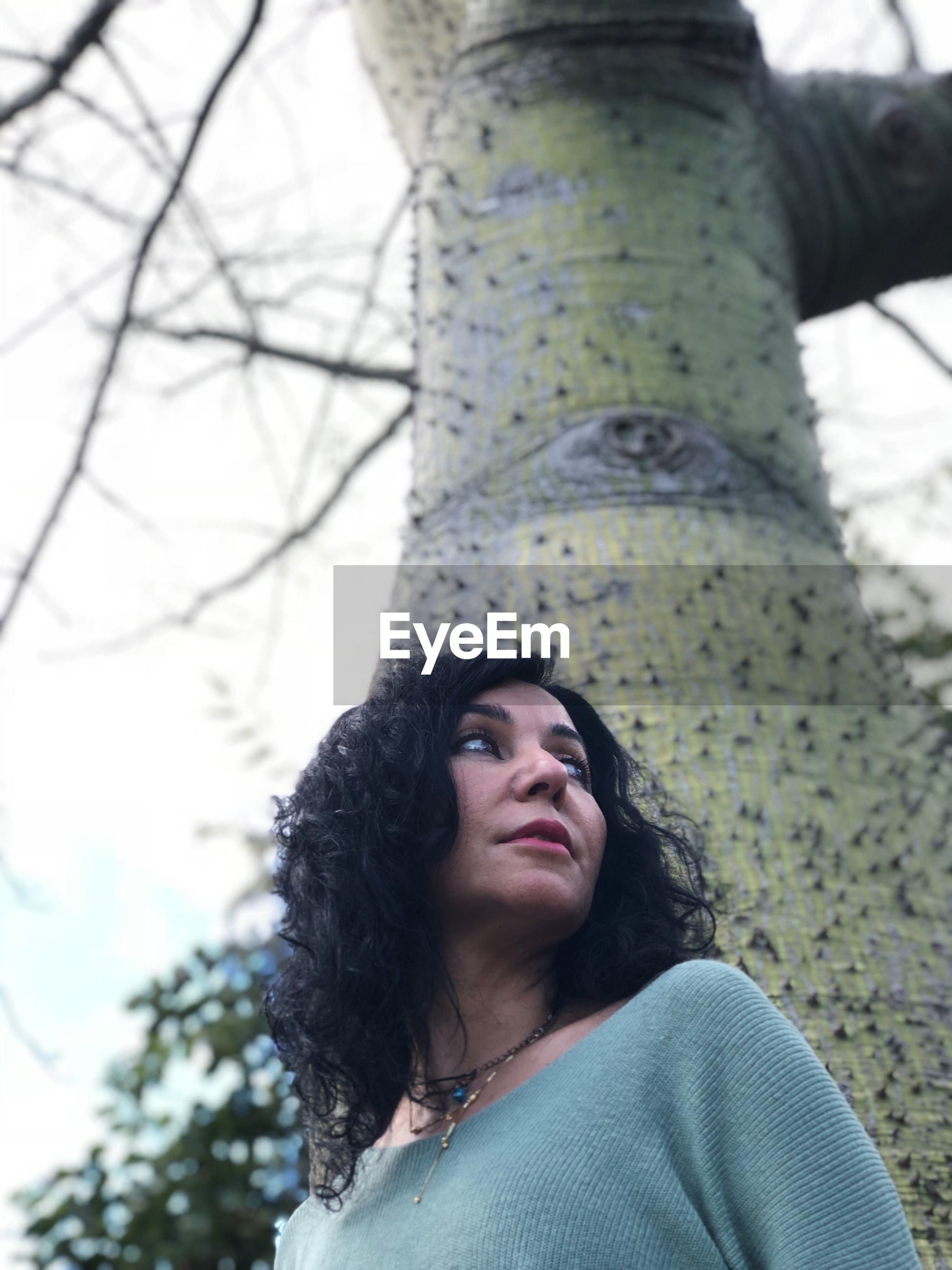 Low angle view of woman against tree trunk