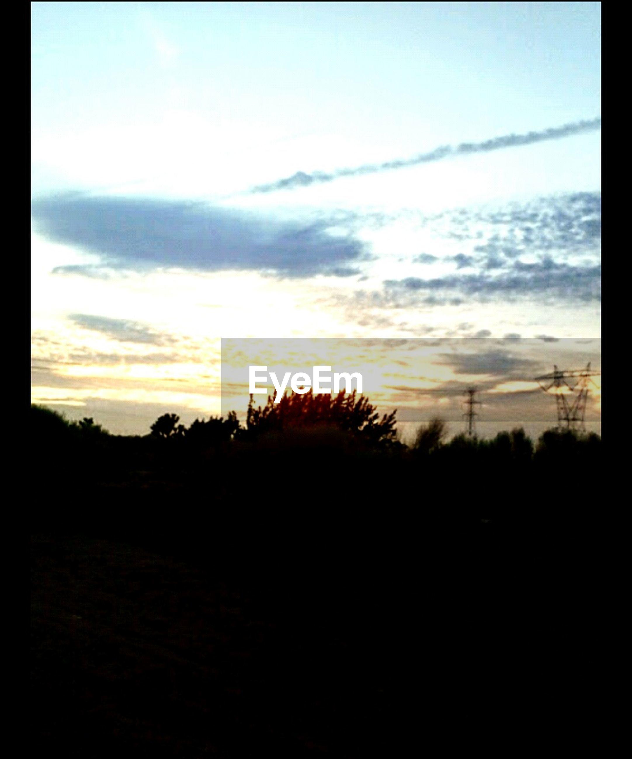 sunset, silhouette, tranquil scene, tranquility, sky, scenics, landscape, beauty in nature, tree, nature, field, cloud - sky, idyllic, dark, cloud, orange color, non-urban scene, dusk, non urban scene, outdoors