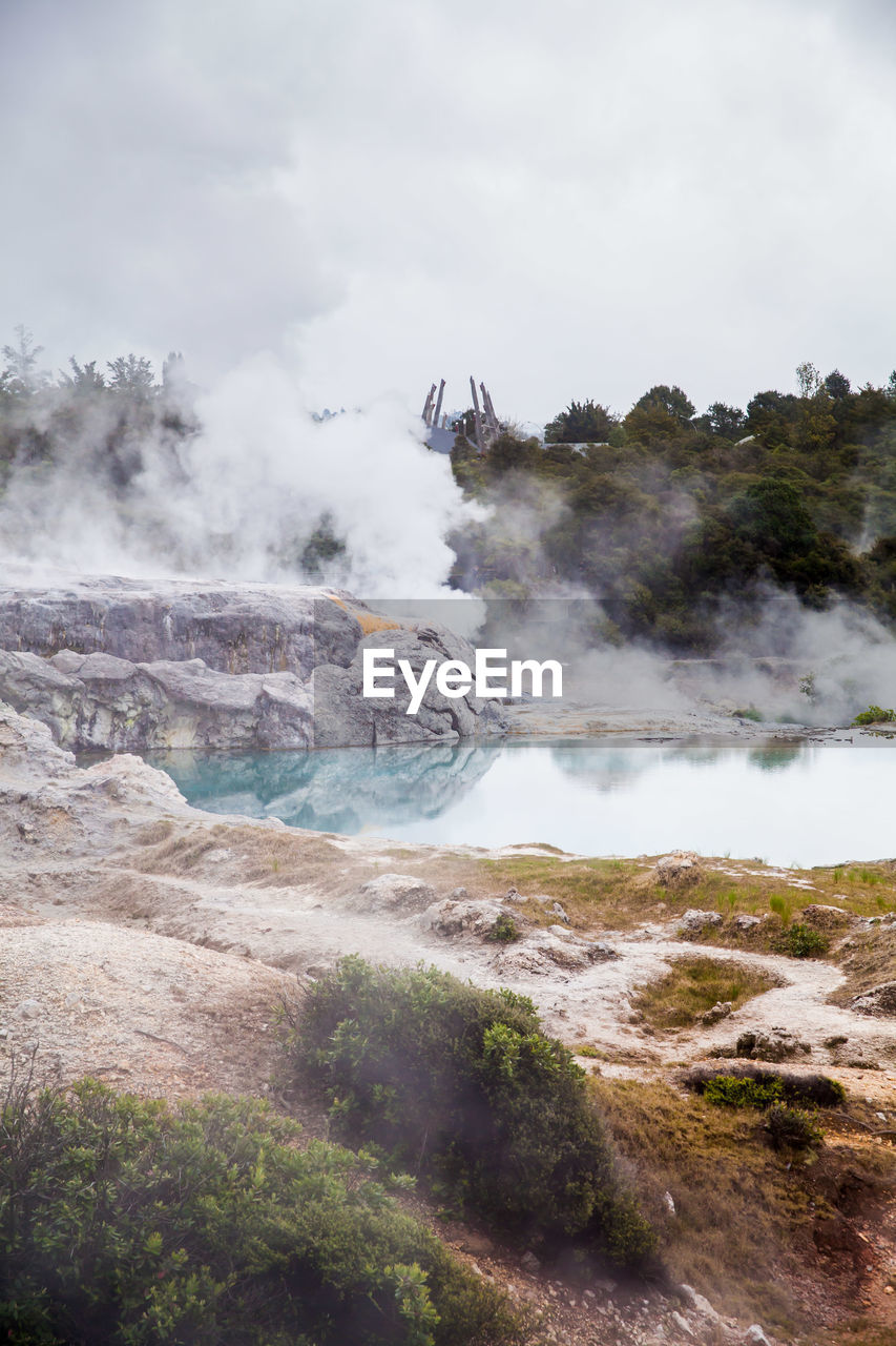sky, smoke - physical structure, power in nature, geology, day, water, nature, physical geography, cloud - sky, beauty in nature, scenics - nature, power, non-urban scene, motion, environment, land, no people, steam, mountain, landscape, outdoors, hot spring, volcanic crater