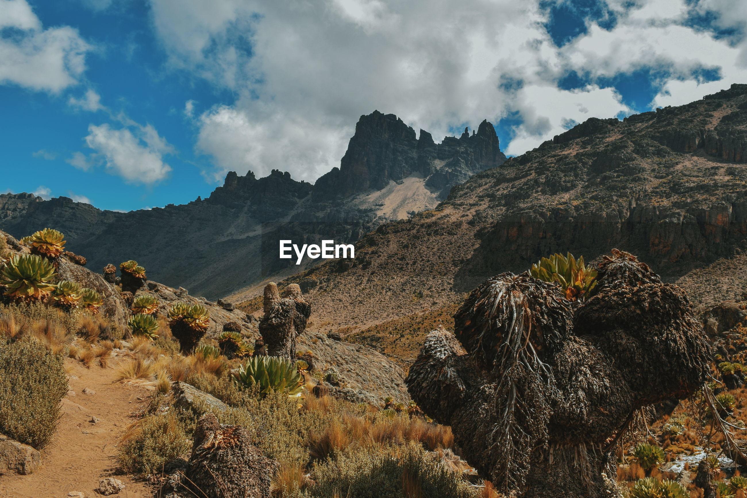 Volcanic rock formations at mount kenya