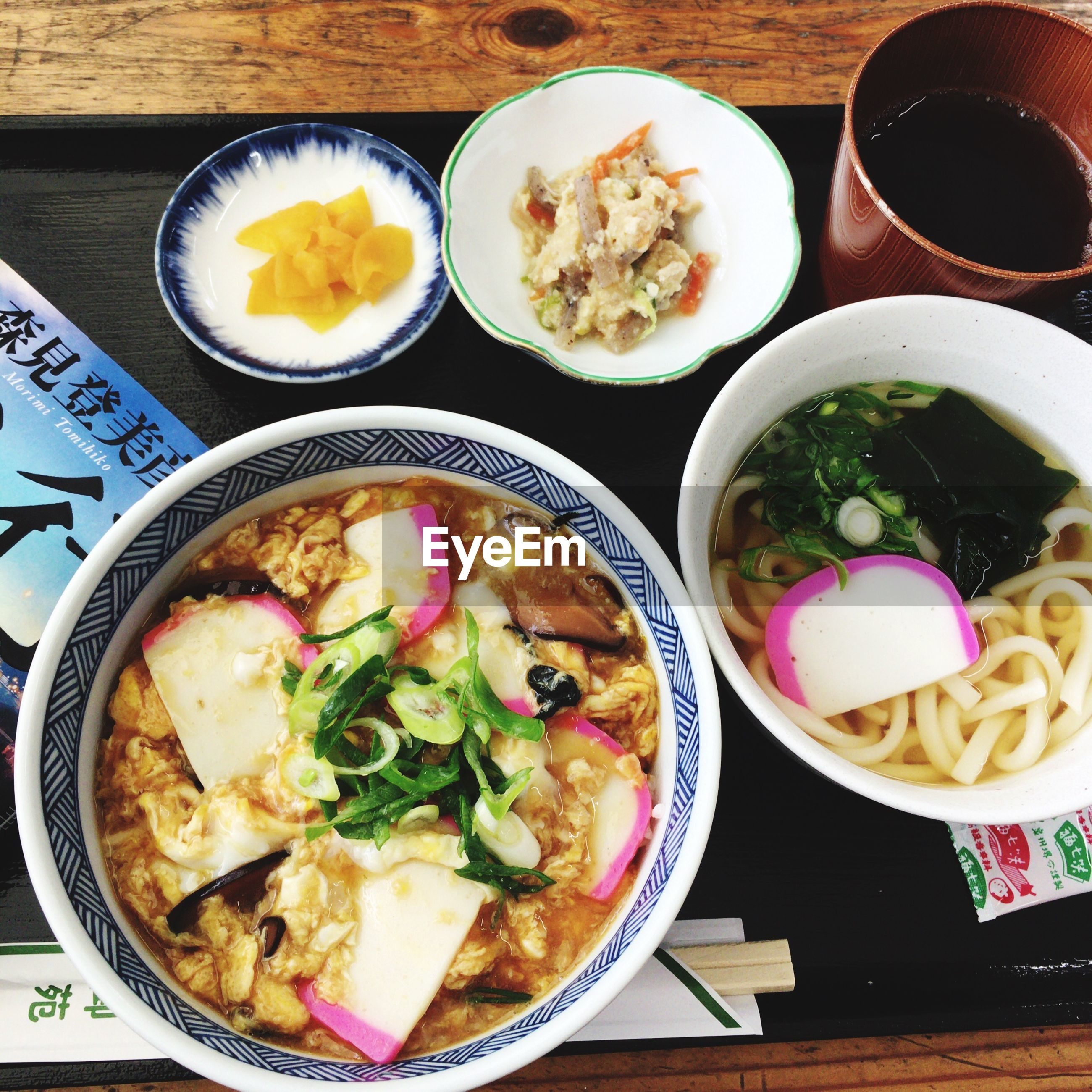 food and drink, food, ready-to-eat, healthy eating, freshness, table, asian food, indoors, wellbeing, bowl, high angle view, still life, no people, serving size, soup, close-up, chopsticks, japanese food, vegetable, meal, chinese food, tray, serving dish