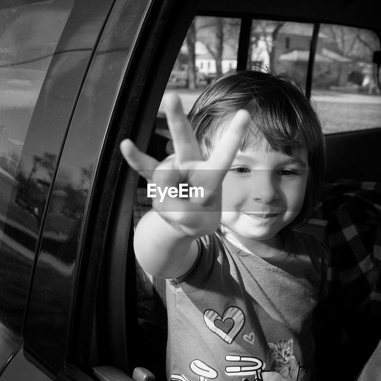 Boy Gesturing While Sitting In Vehicle
