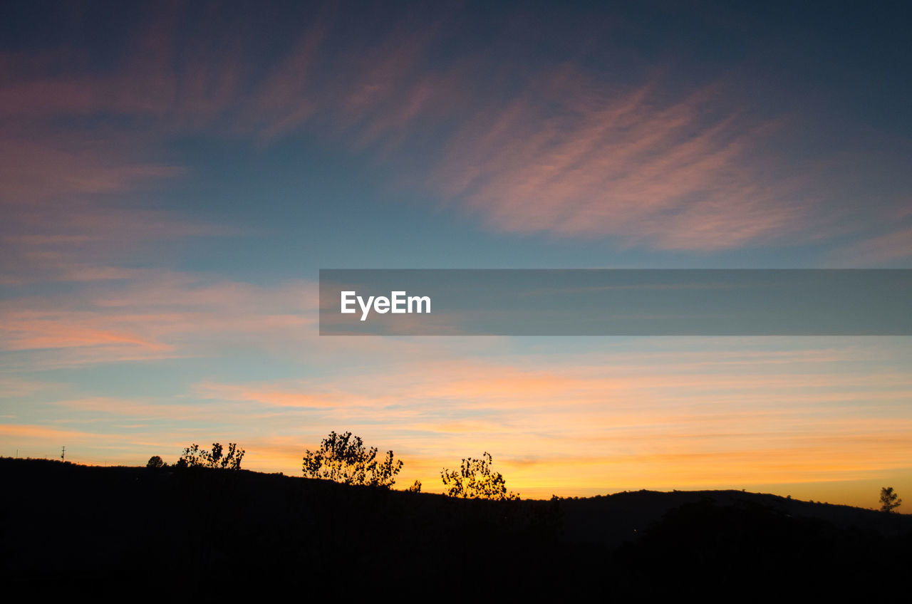 sky, silhouette, sunset, cloud - sky, beauty in nature, tranquil scene, tranquility, scenics - nature, orange color, no people, nature, tree, landscape, environment, idyllic, non-urban scene, plant, outdoors, dramatic sky, dusk