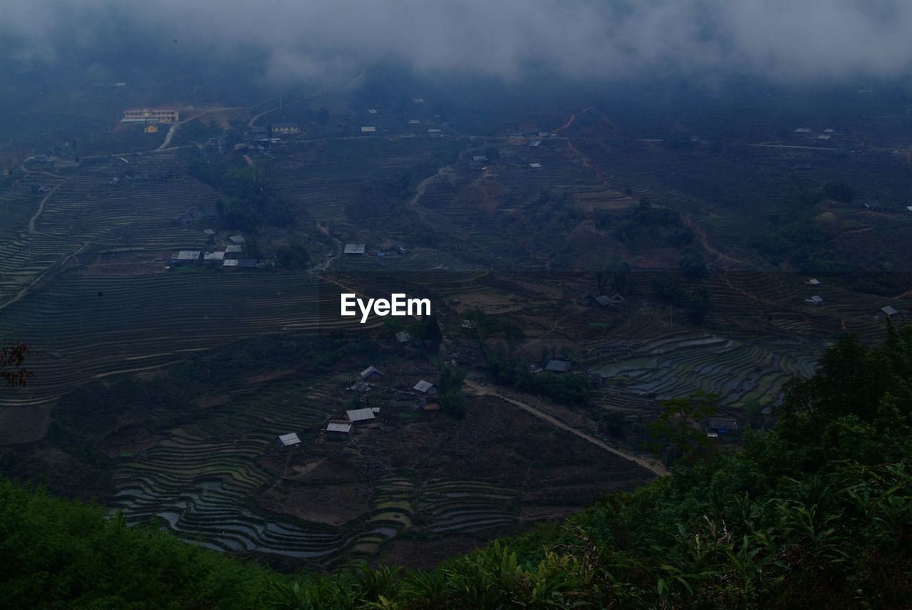 landscape, environment, scenics - nature, beauty in nature, tranquil scene, land, nature, tranquility, high angle view, agriculture, plant, cloud - sky, rural scene, no people, sky, day, tree, non-urban scene, aerial view, outdoors