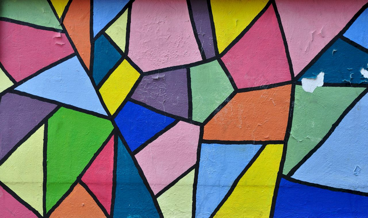 multi colored, full frame, backgrounds, pattern, art and craft, design, geometric shape, wall - building feature, creativity, no people, close-up, shape, built structure, graffiti, vibrant color, textured, architecture, day, stained glass, wall