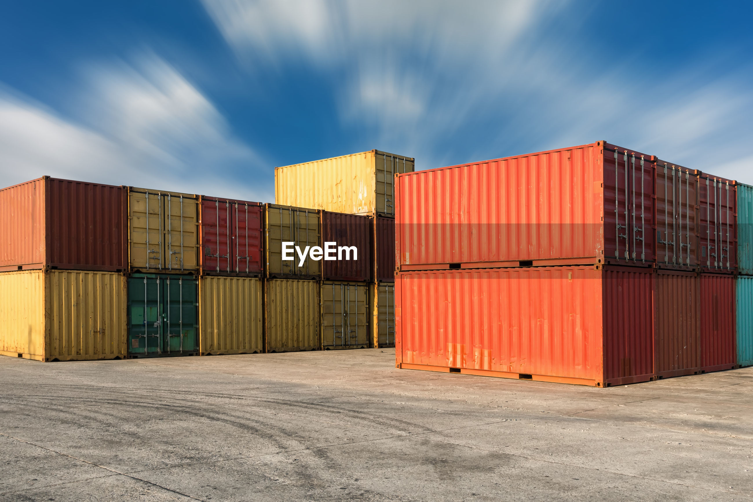 Cargo containers against sky
