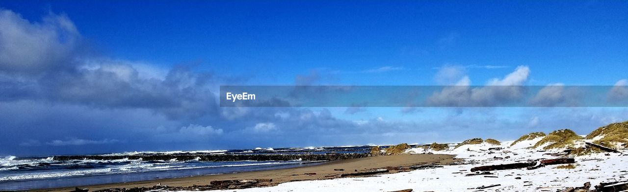 sky, cloud - sky, beauty in nature, scenics - nature, sea, water, beach, land, tranquility, tranquil scene, nature, non-urban scene, blue, no people, day, idyllic, winter, snow, snowcapped mountain