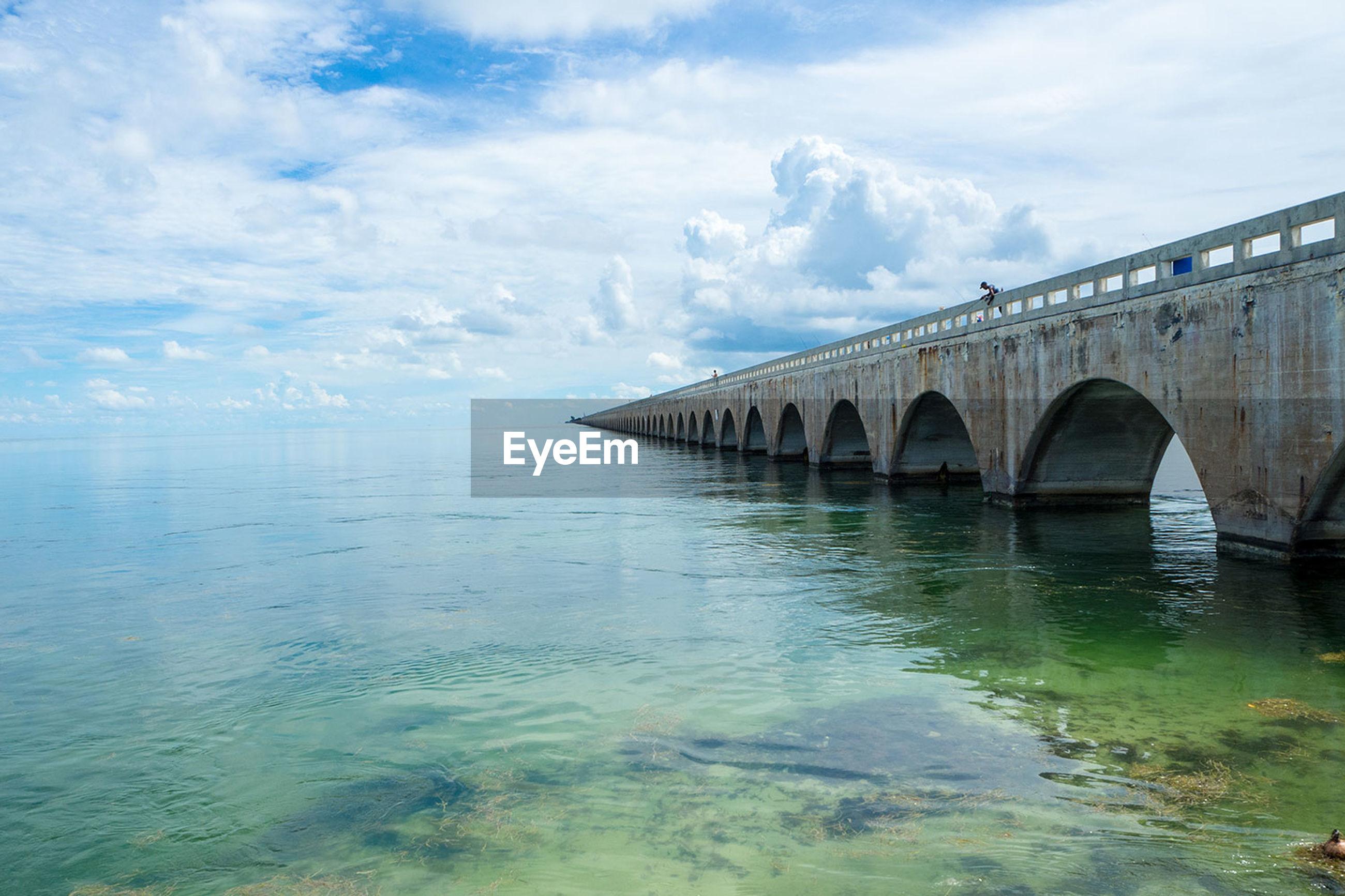Bridge over ocean against sky