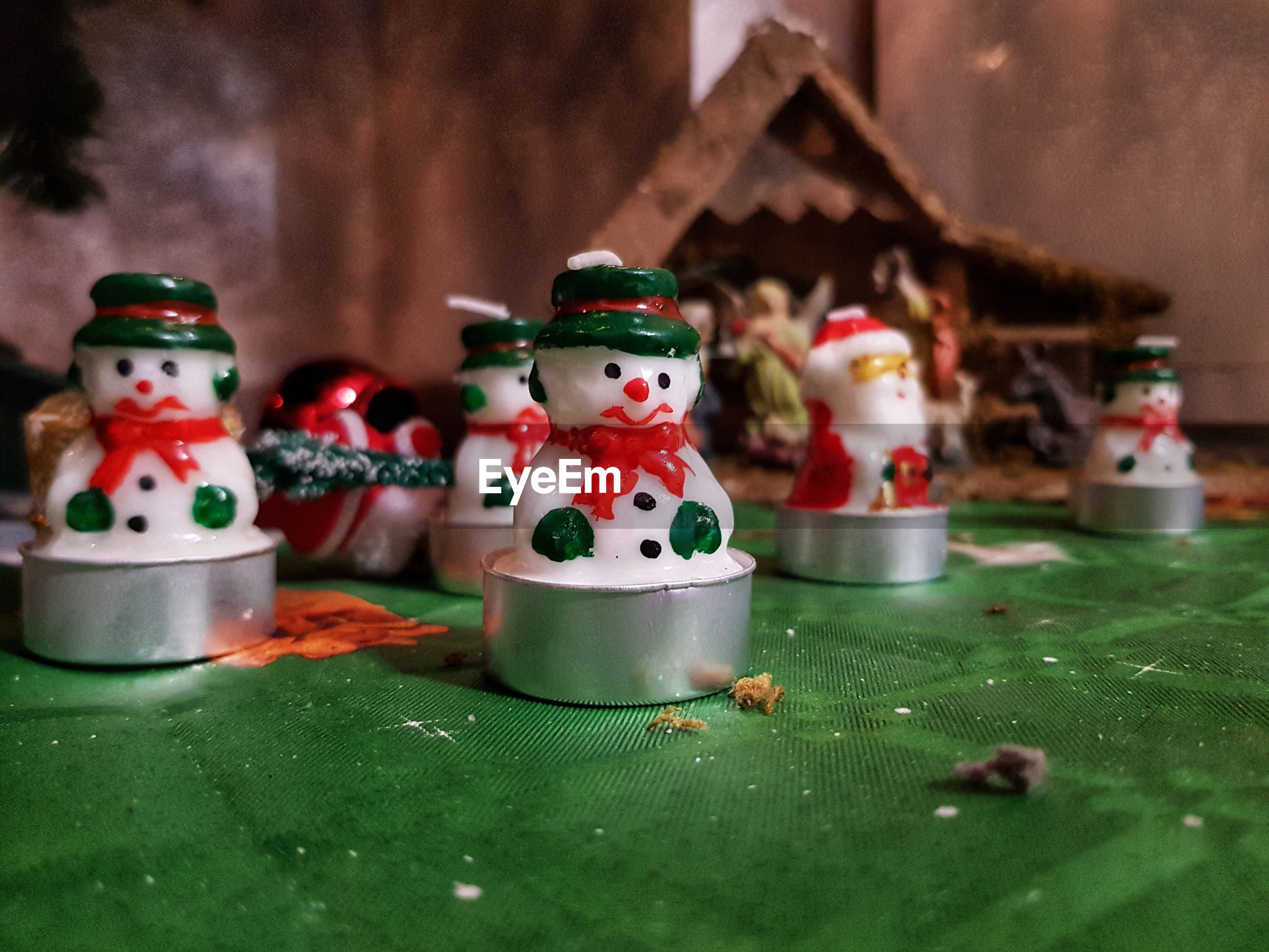 Christmas decorations on table at home