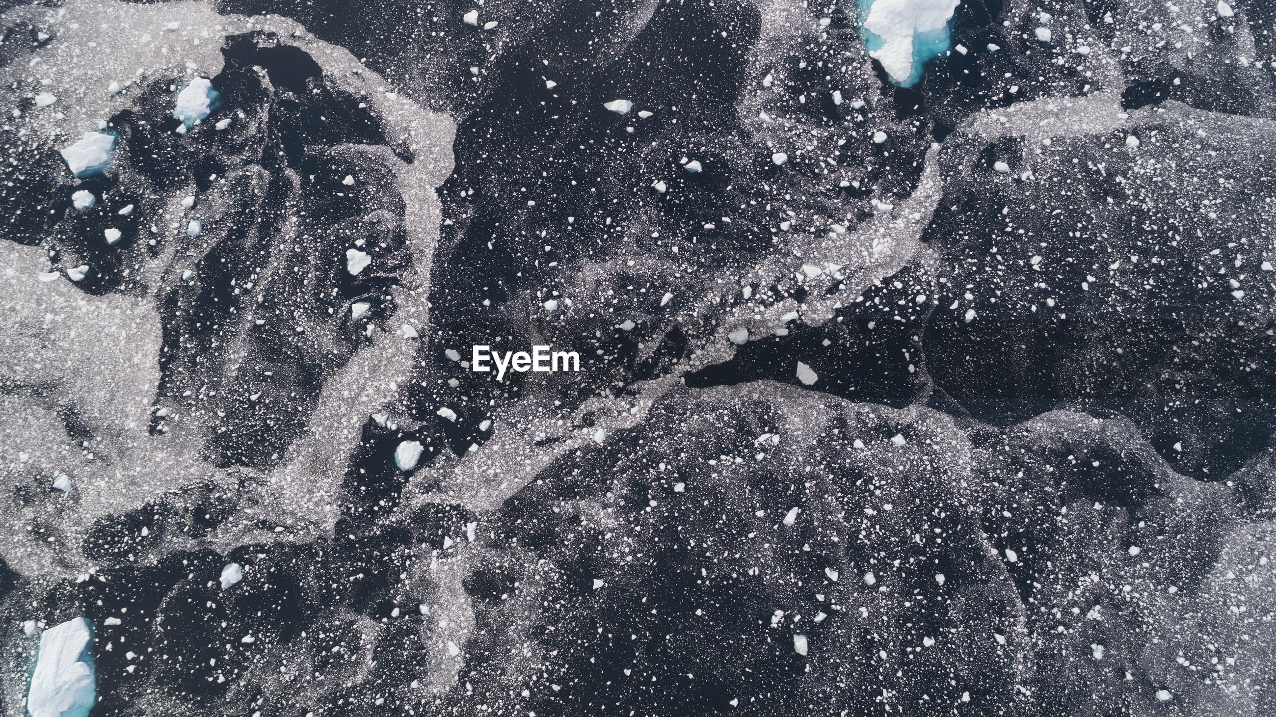 Aerial view of glacier in sea