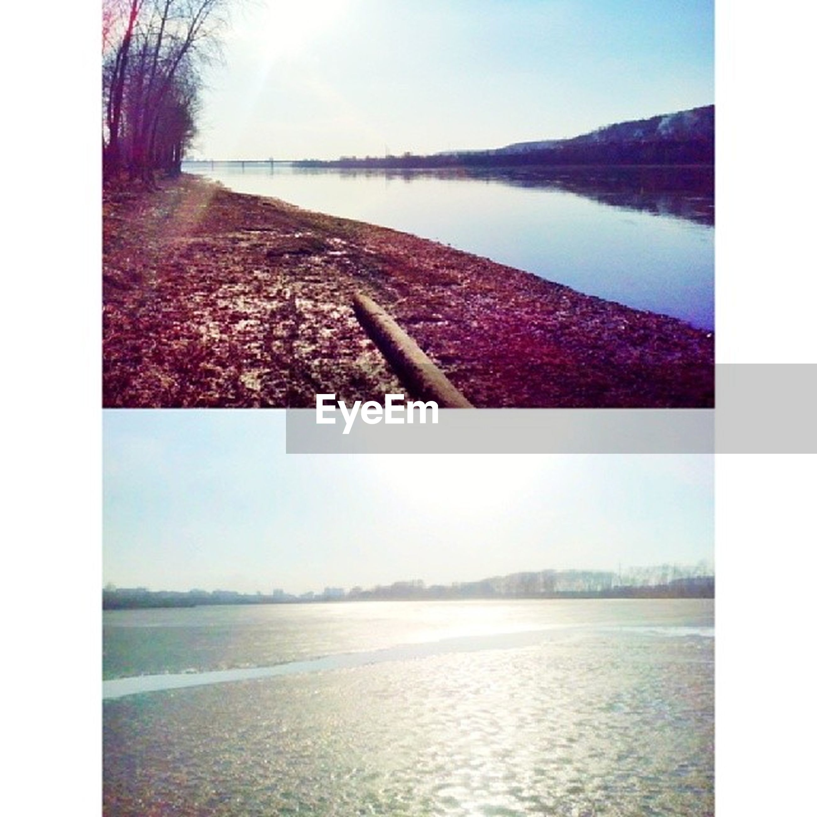 water, transfer print, clear sky, tranquil scene, auto post production filter, scenics, tranquility, river, beauty in nature, nature, lake, waterfront, landscape, sea, tree, outdoors, idyllic, no people, day, sky