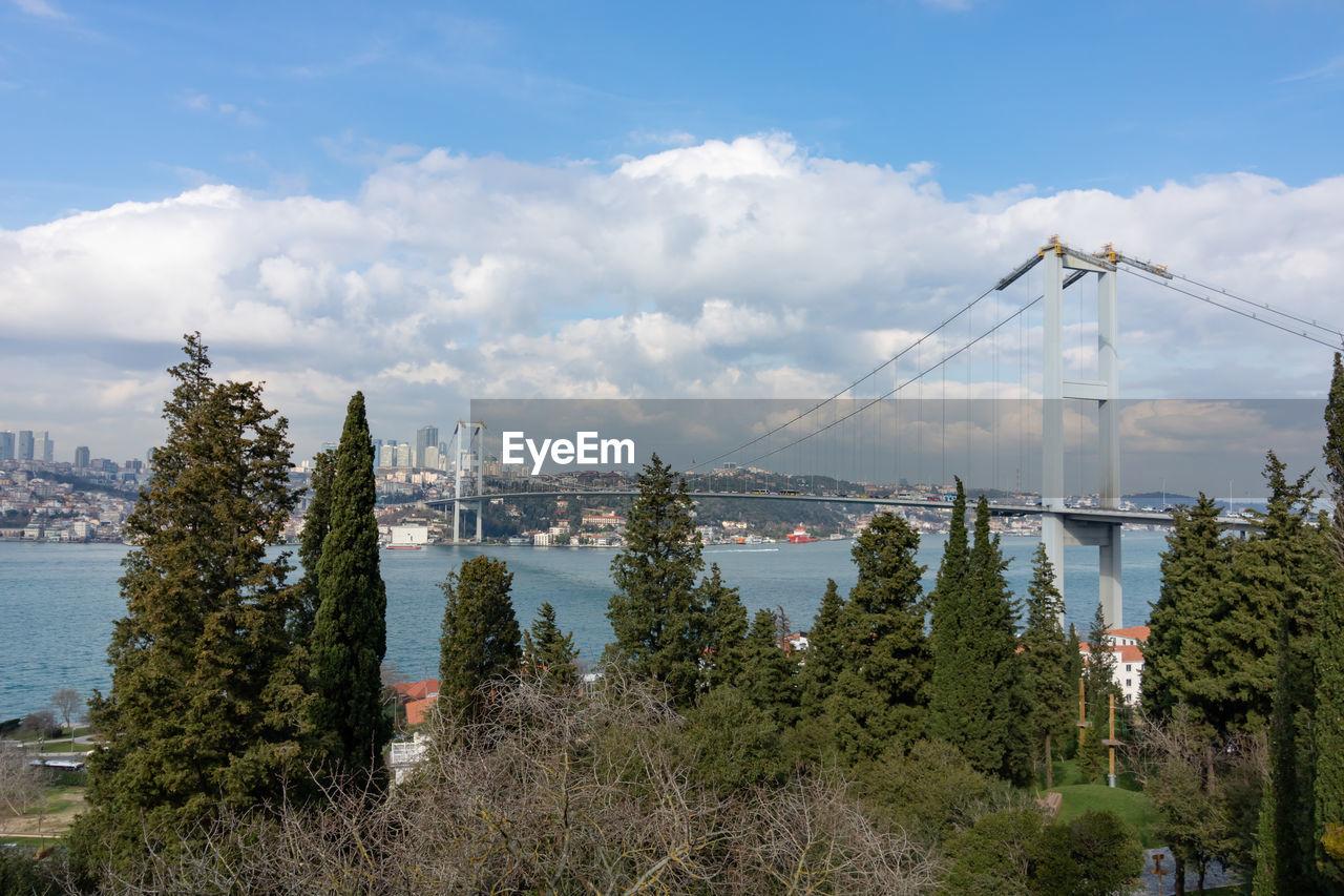 Bosphorus bridge from nakkastepe public garden in istanbul