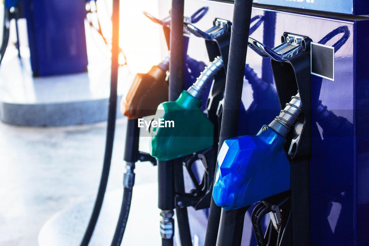 Close-Up Of Petrol Nozzles