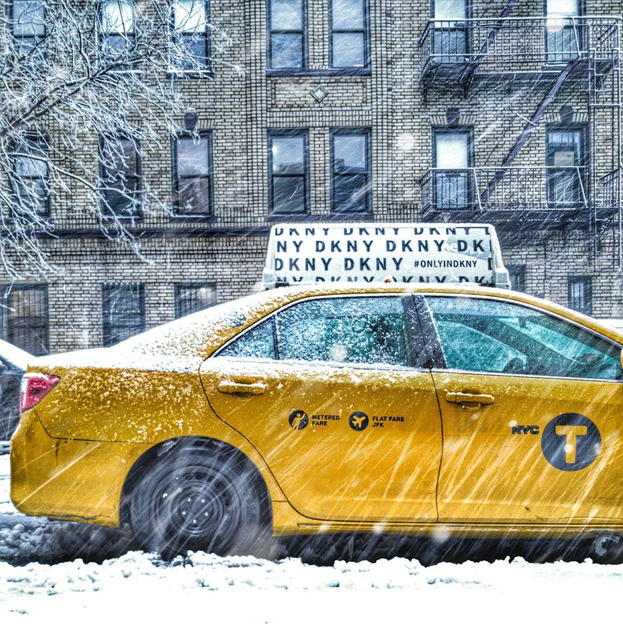 snow, architecture, mode of transportation, winter, built structure, cold temperature, yellow, car, day, building exterior, motor vehicle, transportation, land vehicle, city, building, no people, nature, taxi, text, outdoors, snowing, blizzard, school bus