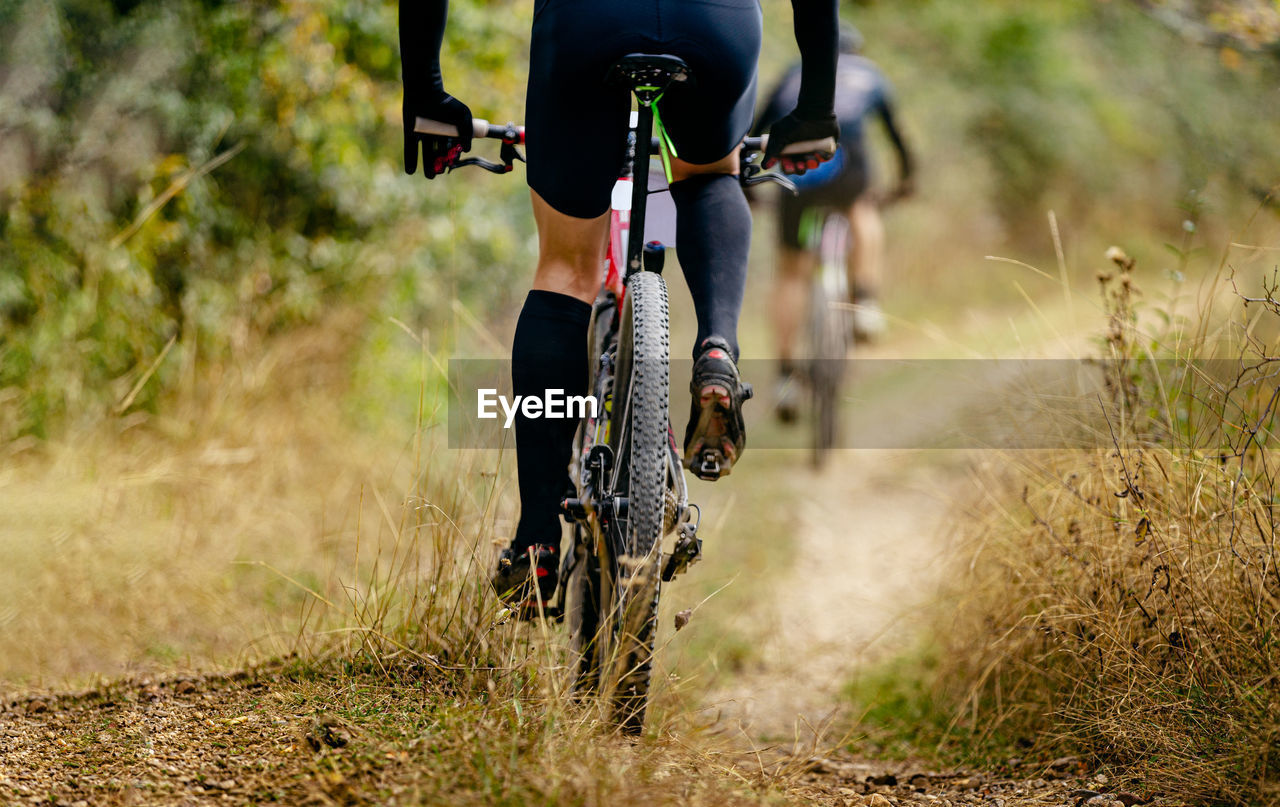 Rear wheel mountain bike riding on trail with dry grass