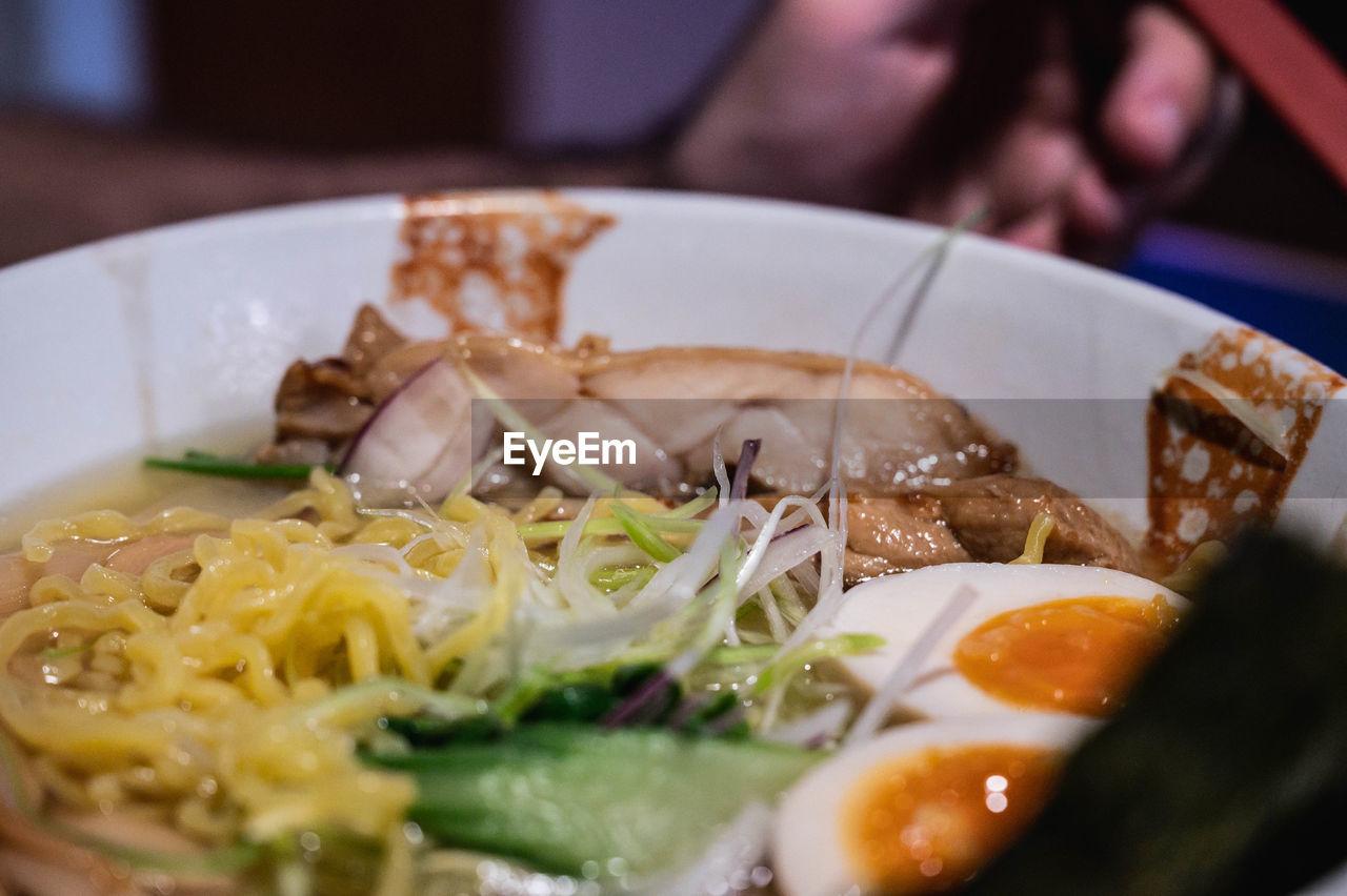 Close-up of ramen served in plate