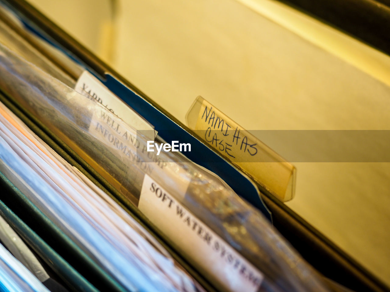 High Angle View Of Folders With Labels