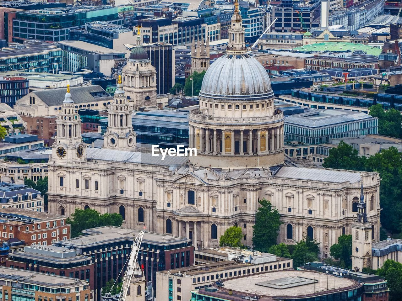 High Angle View Of St Paul Cathedral Amidst Buildings In City