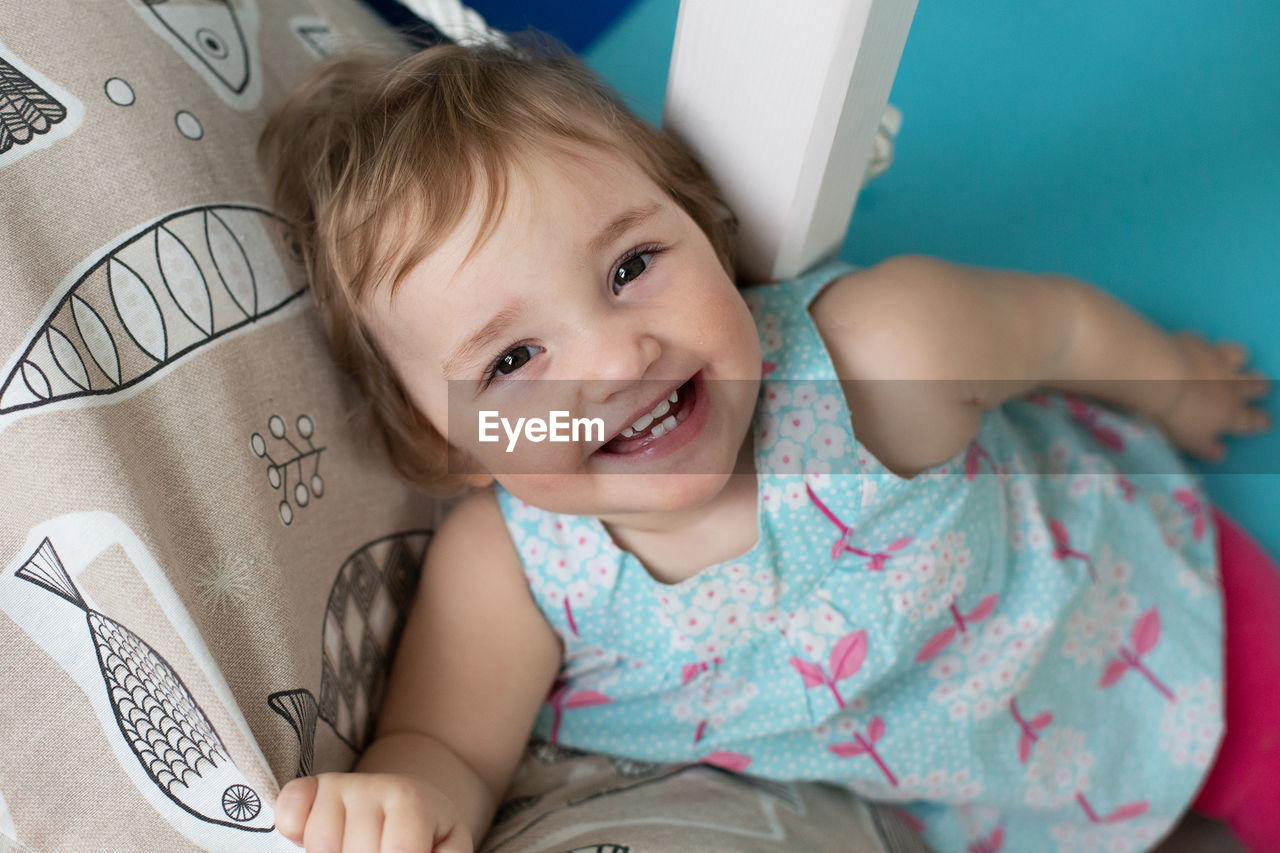 Portrait of cute girl smiling