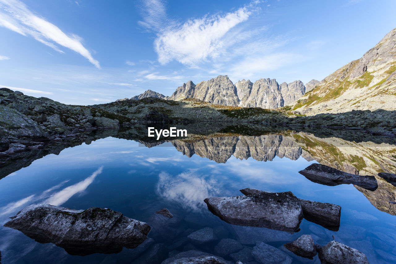 rock - object, mountain, sky, scenics, tranquil scene, nature, tranquility, beauty in nature, cloud - sky, water, outdoors, no people, reflection, day, mountain range, lake, physical geography, rocky mountains, iceberg