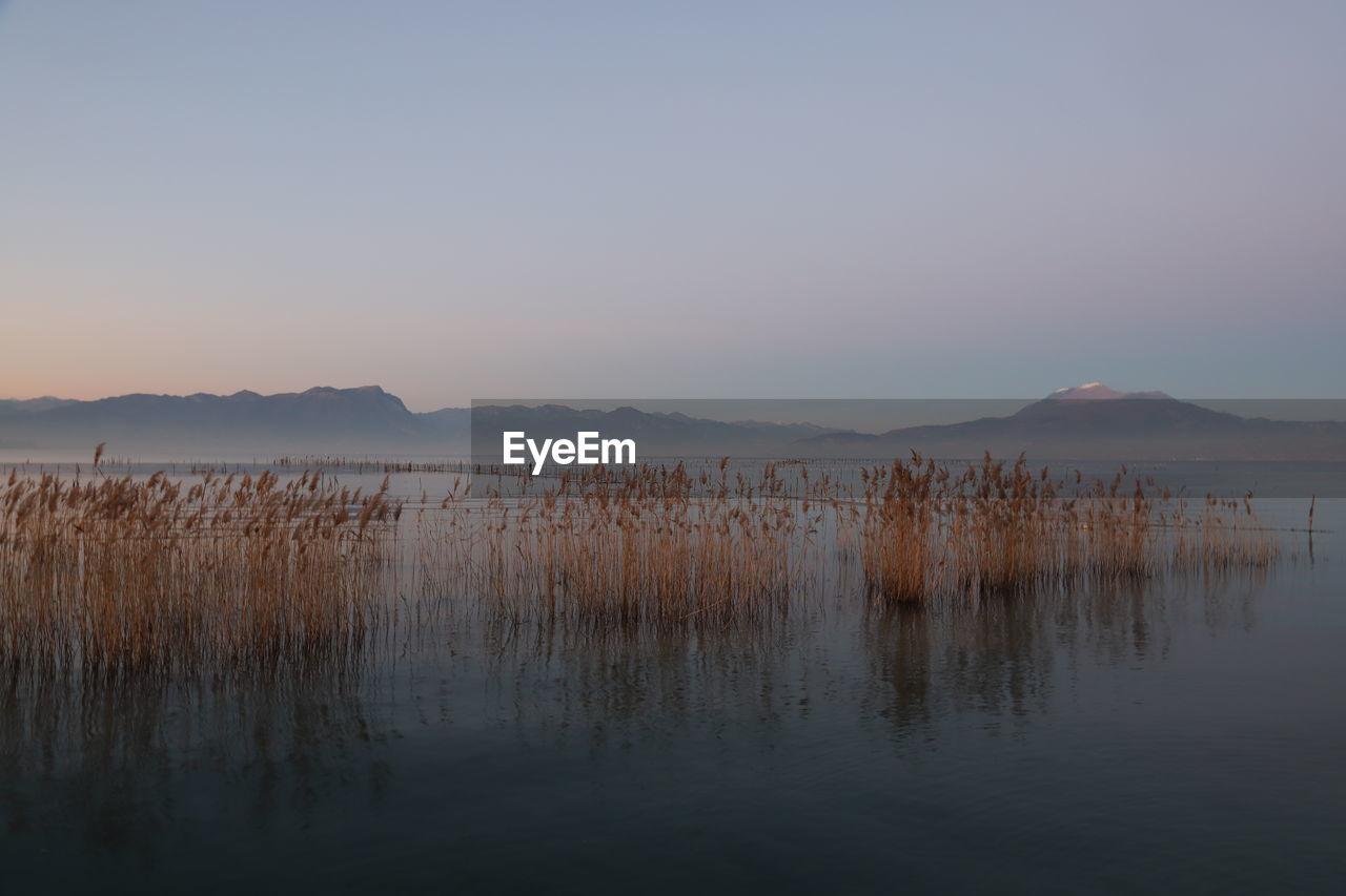 water, sky, tranquility, beauty in nature, scenics - nature, tranquil scene, reflection, lake, waterfront, copy space, no people, non-urban scene, nature, idyllic, clear sky, sunset, remote, mountain, outdoors