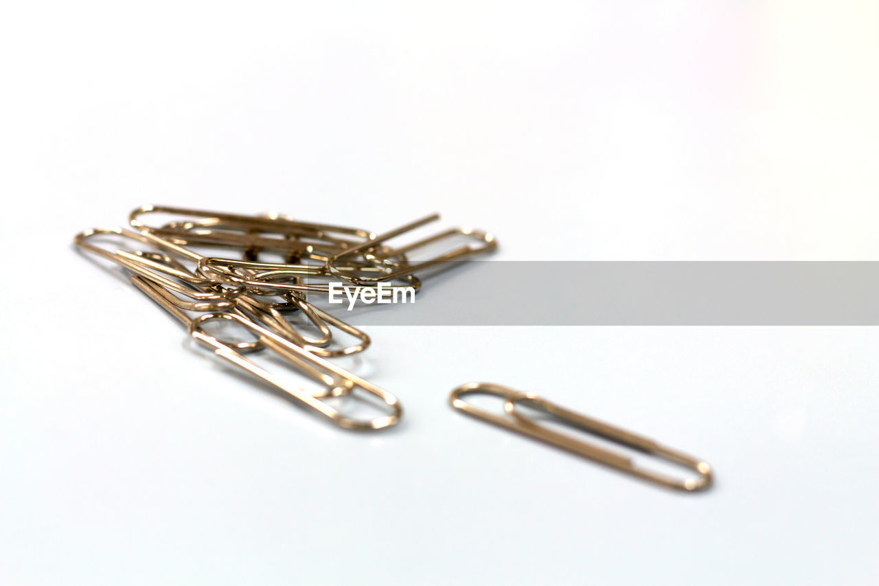 Close-up of paper clips against white background