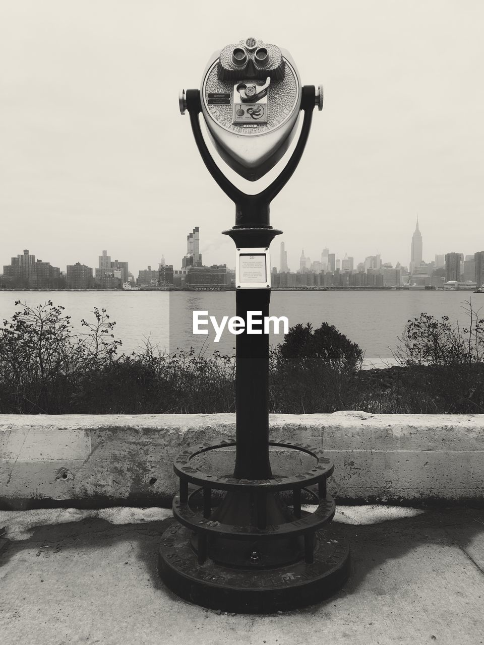 water, binoculars, architecture, sky, coin operated, river, nature, day, built structure, city, coin-operated binoculars, building exterior, no people, metal, outdoors, security, observation point, railing, clear sky, hand-held telescope