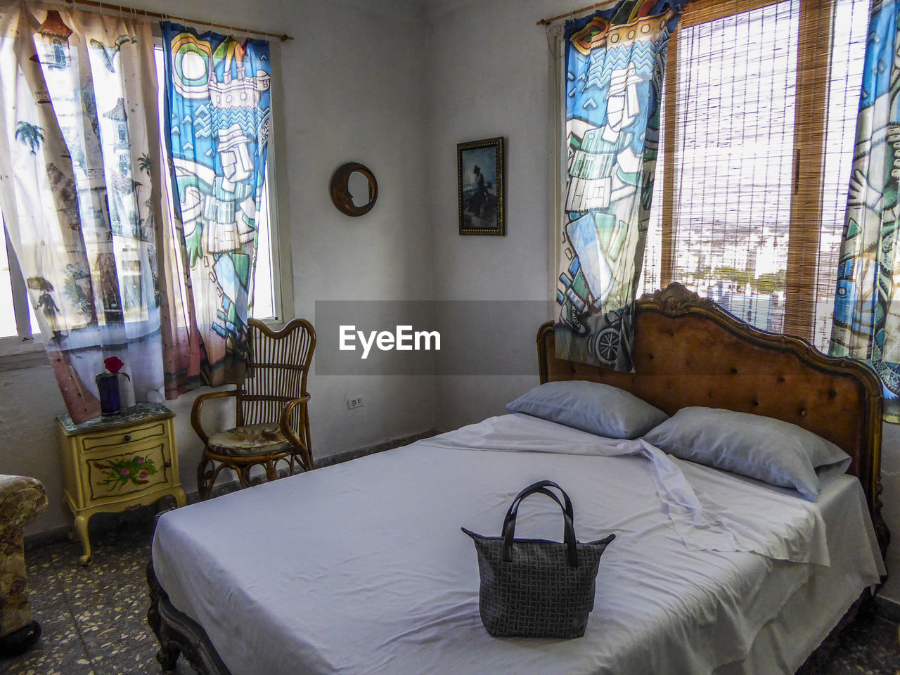 window, indoors, bed, bedroom, no people, home interior, day, curtain, architecture