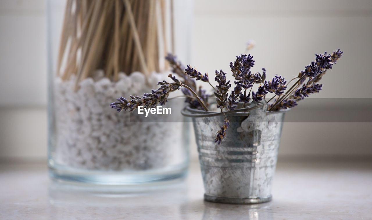Close-up of flowers in bucket on floor