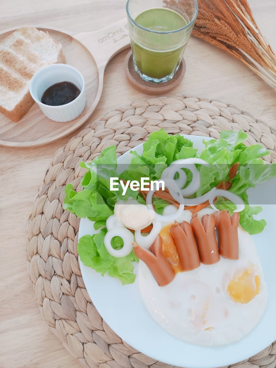 food and drink, food, freshness, table, drink, healthy eating, ready-to-eat, vegetable, refreshment, wellbeing, still life, indoors, serving size, no people, plate, high angle view, cup, close-up, glass, mug, breakfast, fried egg, crockery