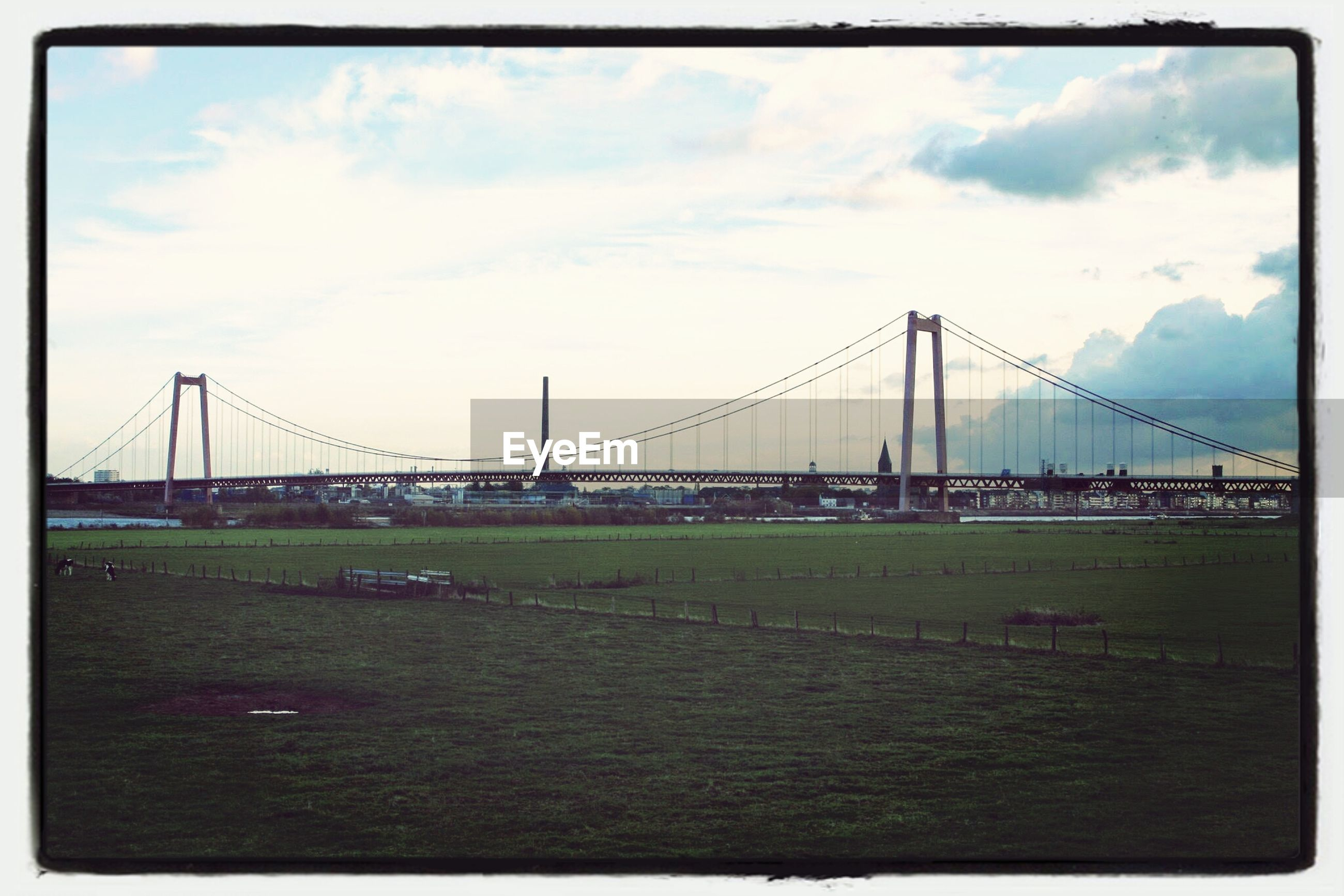Grassy landscape in front of emmerich rhine bridge against cloudy sky