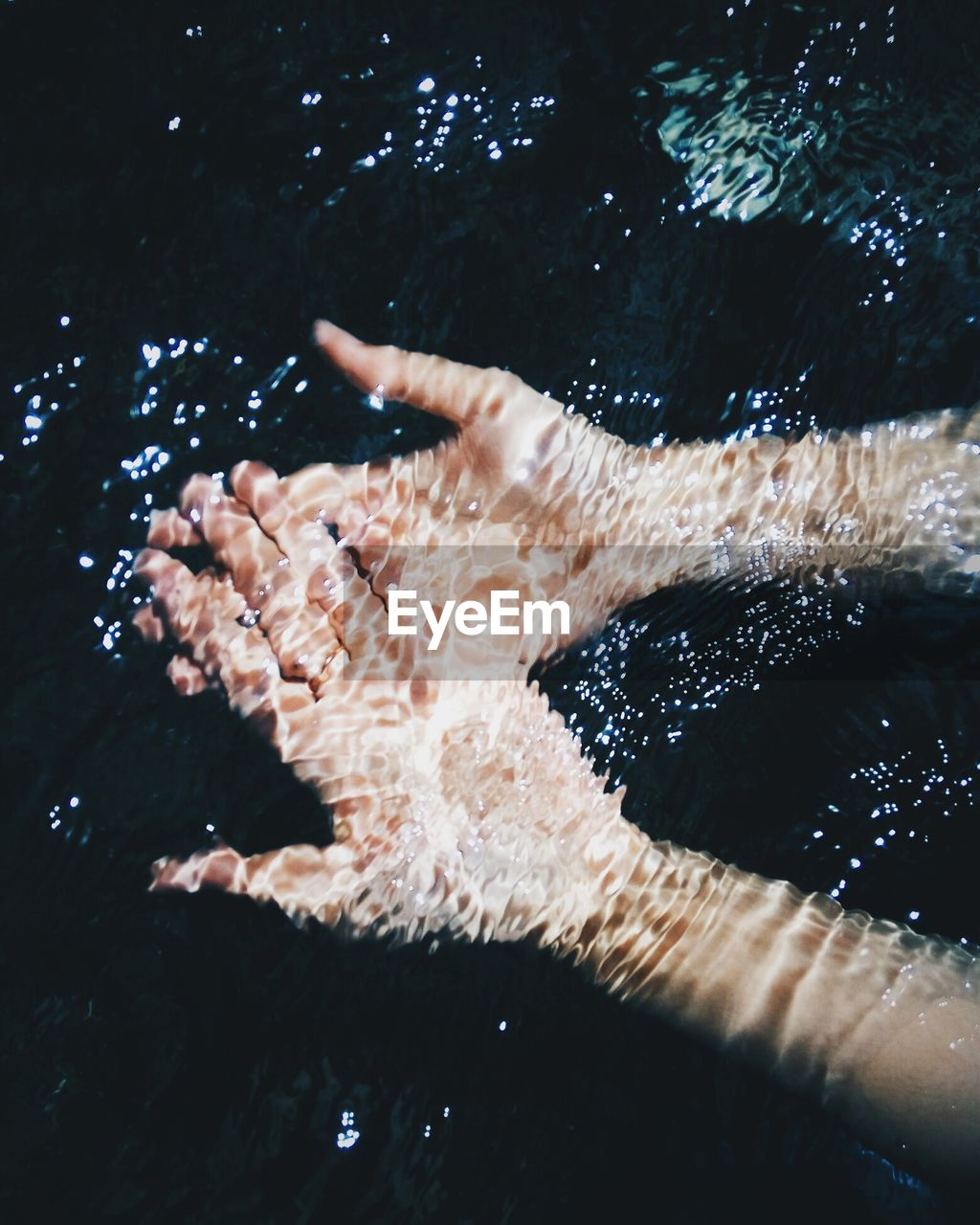 High Angle View Of Hand In Water