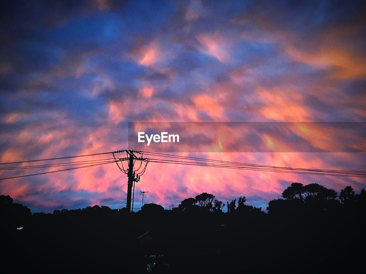 silhouette, sunset, connection, sky, low angle view, cloud - sky, cable, power supply, technology, nature, electricity, power line, beauty in nature, no people, electricity pylon, fuel and power generation, outdoors, scenics, tree, day