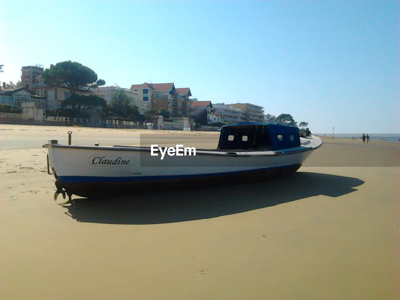 transportation, nautical vessel, mode of transport, clear sky, moored, boat, beach, day, outdoors, no people, water, nature, sea, architecture, building exterior, sky