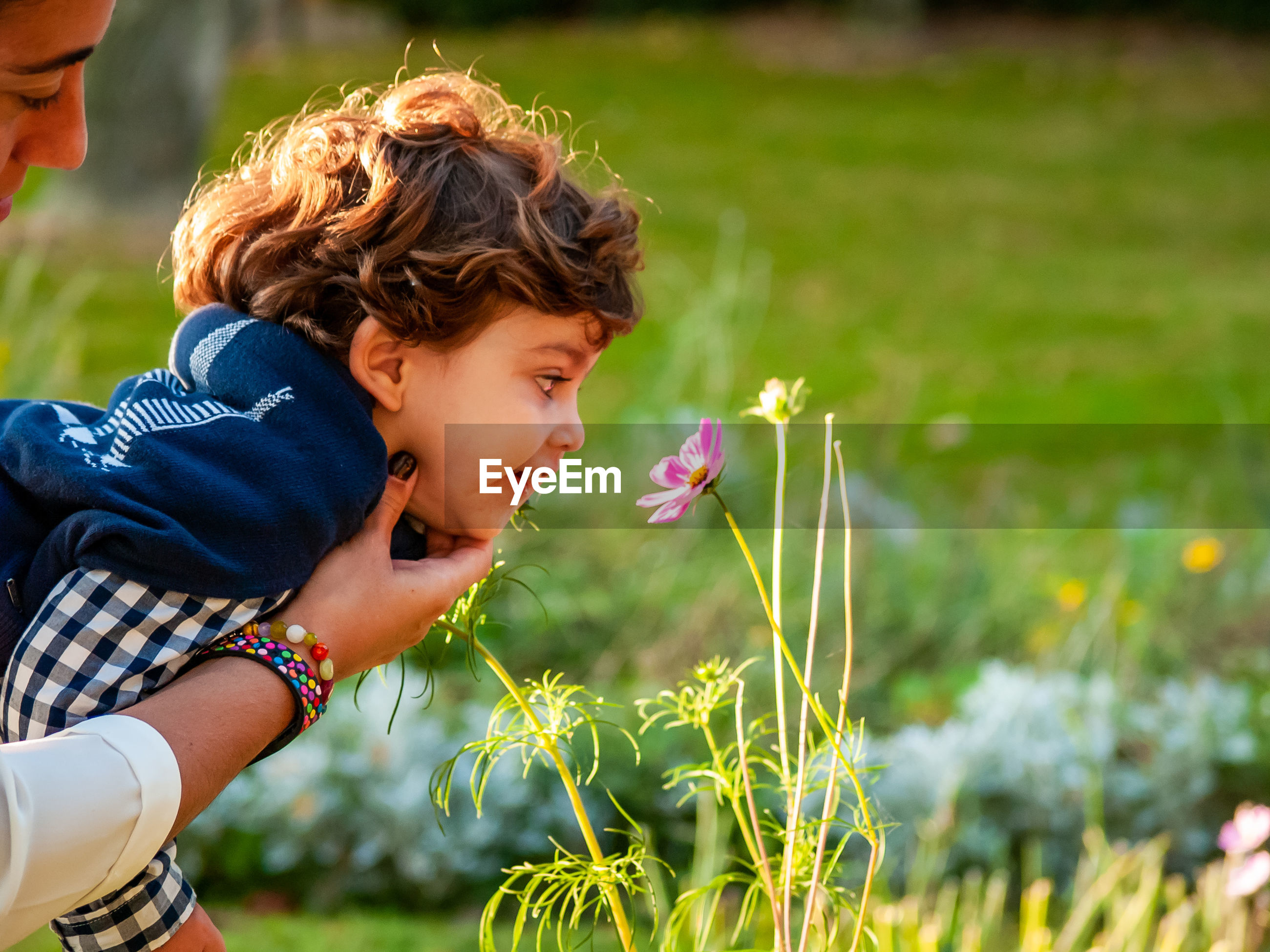 Mother and son looking at blooming flowers in garden