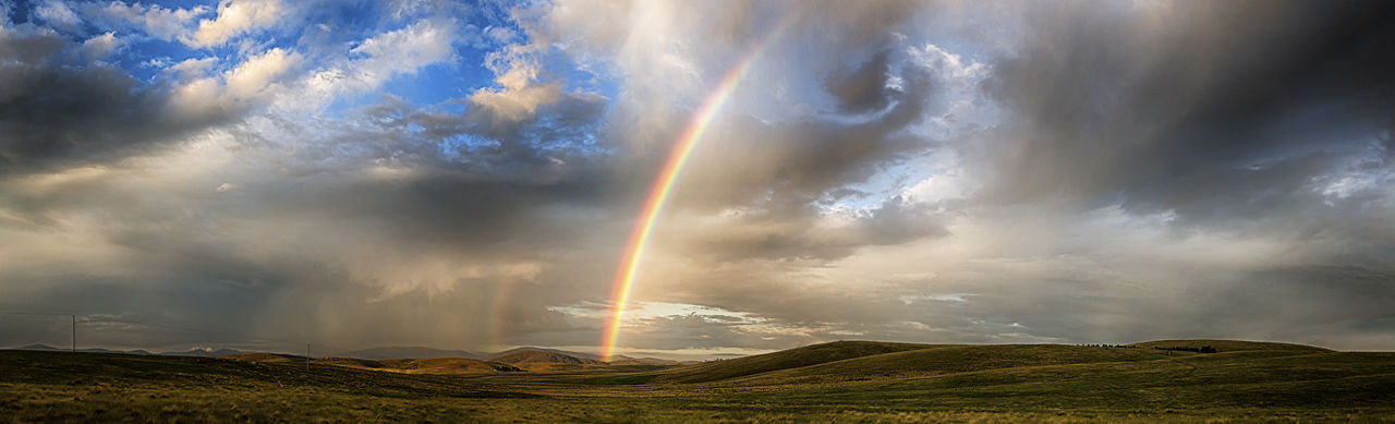 rainbow, beauty in nature, nature, cloud - sky, sky, tranquil scene, scenics, weather, no people, tranquility, double rainbow, outdoors, mountain, day, landscape