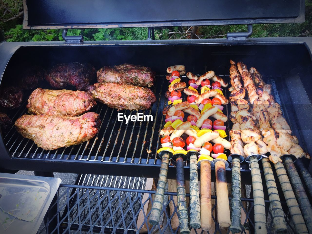 Fish And Meat On Barbeque Grill