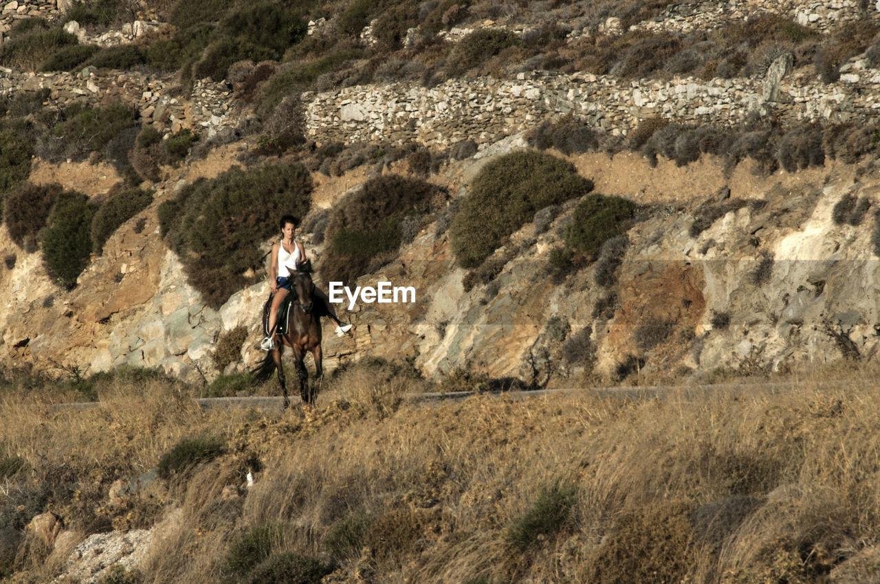 Man Riding Horse On Mountain